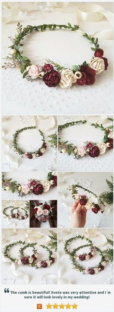 Blush pink Beige Burgundy Flower crown Burgundy Floral accessories Bridal headpiece Burgundy wedding crown Burgundy bridal crown Maternity https://www.etsy.com/FlowersBySveta/listing/588229693/blush-pink-beige-burgundy-flower-crown?ref=shop_home_active_2