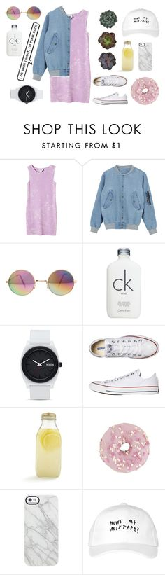 """""""Adele"""" by borna90skid ❤ liked on Polyvore featuring Monki, Calvin Klein, Nixon, Converse, Bormioli Rocco, Uncommon, October's Very Own and pastel"""
