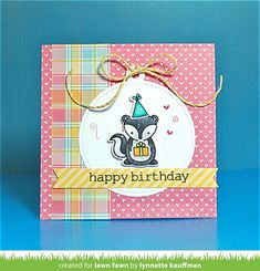 card with critters - Lawn Fawn skunk Stinkin' Cute, Party Animal, Stitched Circle Tags, Extra Sentiment Banners Lawn fawn perfectly plaid paper & polka mon amie - card by Lynnette for Lawn Fawn Design Team Handmade Birthday Cards, Greeting Cards Handmade, Card Making Inspiration, Making Ideas, Mama Elephant Cards, Lawn Fawn Blog, Lawn Fawn Stamps, Animal Cards, Copics