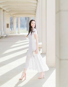 a9e5c17f82861 Easter Brunch Outfit Idea  Banana Republic White Eyelet Midi Dress