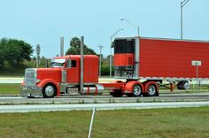 Orange Peterbilt, Wheeler told you there were orange peterbilts! Show Trucks, Big Rig Trucks, Custom Big Rigs, Peterbilt Trucks, Cars Motorcycles, Cool Stuff, Big Boys, Trailers, Wheels