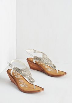 Twinkle in Your Stride Sandal in White. Sparkle up your footsteps with these dazzling white leather sandals. #silver #wedding #bridesmaid #bride #modcloth