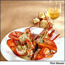 White wine and lobster for two: A simple, elegant recipe from chef Jasper White's book Lobster at Home, plus 12 white wines to match.