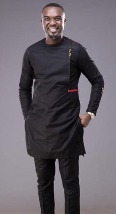 Items similar to African men clothing, Black African suit, African attire, African wedding suit, African groom suit. on Etsy African Wear Styles For Men, African Shirts For Men, African Dresses Men, African Attire For Men, African Clothing For Men, African Style, African Women, African Outfits, Ankara Styles For Men