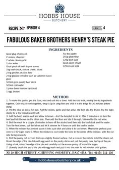 The Fabulous Baker Brothers: Henry's Steak Pie - Hobbs House Bakery - Episode 4 Grilling Recipes, Cooking Recipes, Healthy Food, Healthy Recipes, Everyday Food, Winter Food, Quiches, Lunches And Dinners, Food Preparation