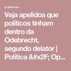 Veja apelidos que políticos tinham dentro da Odebrecht, segundo delator   Política / Operação lava jato   G1