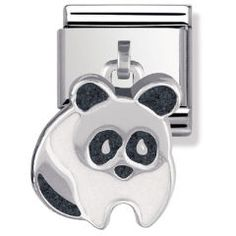 Composable Classic Link in Silver and Enamel Panda