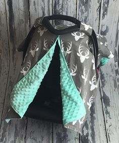 Look at this #zulilyfind! Gray & Mint Deer Car Seat Canopy #zulilyfinds