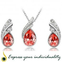 www.jawaherexpress.com  Austrian Crystal Water Drop Leaves Earrings Necklace Fashion Jewelry Set