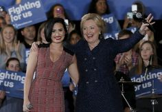 'Confident': Singer Demi Lovato Joins Hillary Clinton for Iowa Rally