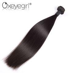 "[Oxeye girl] Malaysian Virgin Hair Straight Human Hair Bundles 10""-26"" M Double Weft Hair Weaving Black Color 1pc"