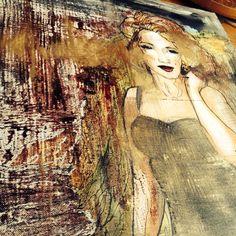 Mixed arts, gold, watercolor and oilcolor. #arts #gold #marlynmonroe