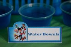 Paw Patrol Birthday Party Ideas | Photo 1 of 44 | Catch My Party  LOL,,,I think it's supposed to be water bowls!