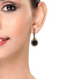Buy Classy Blue Gold Stone Work Drop Earrings danglers-drop online