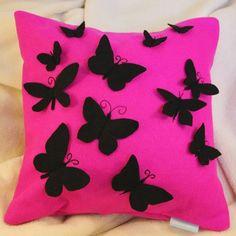 Felt Cushion Cover - Black felt butterflies on pink felt