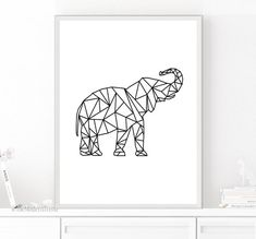 Geometric Art, Geometric Printable, Geometric Elephant, Geometric Animal…