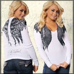 Sinful Whispering Feather Angel Wings Women's Long Sleeve V-Neck Thermal Shirt in Vintage White