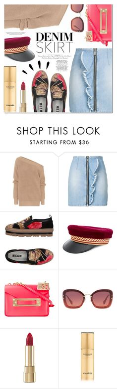 """""""Denim Skirts"""" by a-a-nica ❤ liked on Polyvore featuring Dries Van Noten, MSGM, Manokhi, Sophie Hulme, Miu Miu, Dolce&Gabbana, Old Navy, Chanel and denimskirts"""