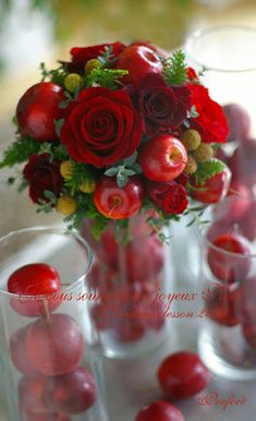 Apple and rose centerpiece