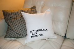 "Lets Make Out. Funny Embroidered Throw Pillow CASE for 14""-16"" square pillow, flirty modern white home decor zippered throw pillowcase"