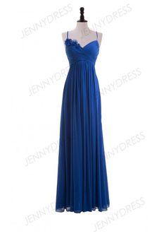Royal Blue Chiffon Sweetheart Empire Long Bridesmaid Dress With Spaghetti Straps