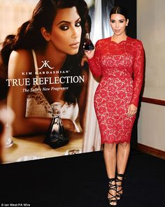 Publicity queen: Kim Kardashian launched her 'sultry new fragrance' in store, before heading back to her hotel