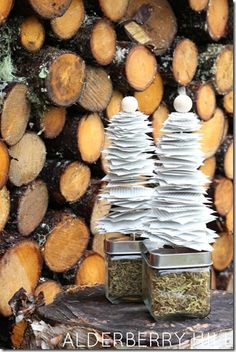 Book Page Christmas Trees - Alderberry Hill