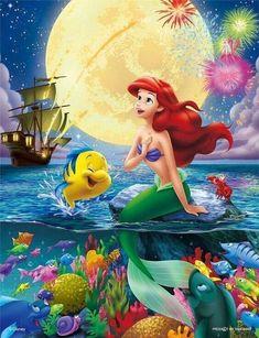 Ariel 〖 Disney The Little Mermaid Ariel Flounder Sebastian fireworks 〗 Ariel Disney, Disney Little Mermaids, Cute Disney, Disney Magic, Disney Art, Disney Movies, Disney Pixar, Disney Collage, Disney Villains
