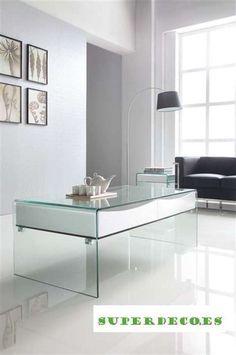 #mesa_cristal_salon #mesa_cristal_auxiliar www.superdeco.es
