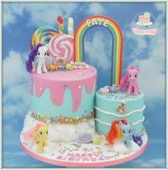 My Little pony - Cake by Jo Finlayson (Jo Takes the Cake) Twin Birthday Cakes, 4th Birthday, Bolo My Little Pony, Mlp Cake, Cake Designs For Boy, Gateau Baby Shower, Sparkle Cake, My Little Pony Birthday Party, Minnie Mouse