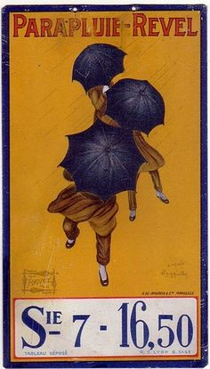 "1920 LEONETTO CAPPIELLO ""PARAPLUIE - REVEL"" UMBRELLA $21.50"