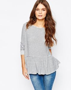 Image 1 of New Look Stripe Peplum Top