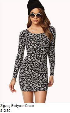 Zigzag bodycon dress #f21