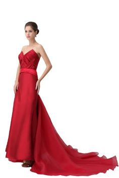 herafa p32941-10 Evening Gowns Elegant Sweetheart Sleeveless Creasing Long 0 A-Line Red $411.30