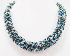 Teal, Bronze, and Silver Chainmaille Necklace by AndrassidyDesigns