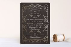 """Dainty Deco"" - Vintage Foil-pressed Wedding Invitations in Navy by Phrosne Ras."