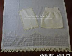 sabanilla en tela de rami, calada, bordada y tejida...  vestido y saca gas y sabanilla...