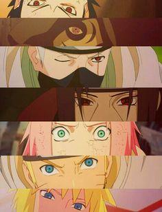 Naruto eyes. (Sasuke, Tobi, Kakashi, Itachi, Sakura, Naruto, Minato.)
