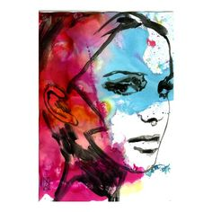 Watercolor Digital Print Painting Face Blue Red Woman 23-100 l.e.