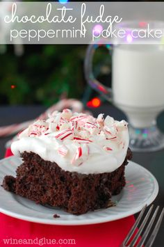 Chocolate Fudge Peppermint Poke Cake | Such an easy and delicious dessert that is perfect for the holidays!