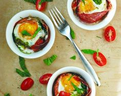 Baked Egg Cups with Tomatoes, Spinach, and Prosciutto Recipe