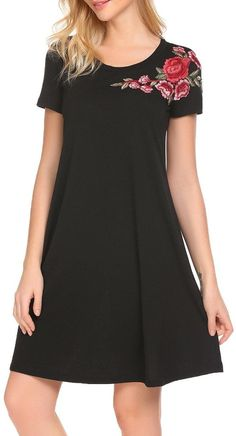 Black Zeela Casual O-Neck Short Sleeve Floral Embroidey A-line Dress - so cute and comfy!