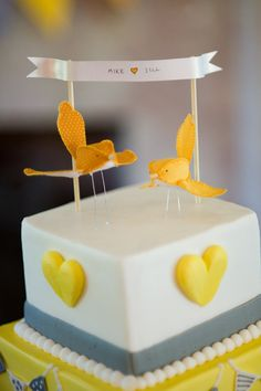 yellow birds cake topper  Its so different from the traditional bride and groom topper, love it!