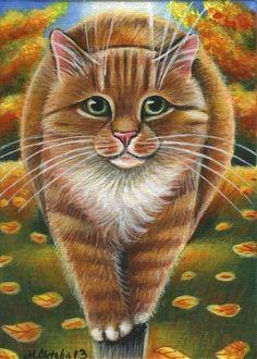Orange Tabby Cat Fall Painting