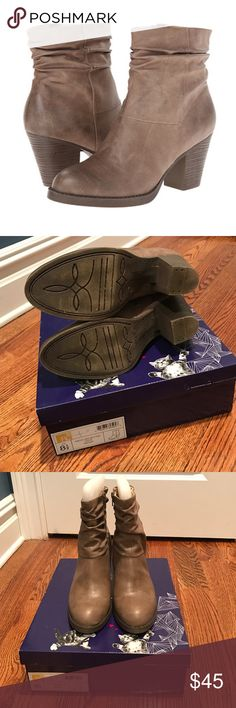 "Taupe Booties Barely worn. Great condition! With original box! BC Footwear Above and Beyond Slouch Bootie. Perfect Taupe color. Comfy and trendy. From Nordstrom. Gentle ruching adds chic slouching to a stylish bootie set on a stacked heel.   SIZE 8.5 2 1/2"" heel 7 1/2"" boot shaft. Side zip closure. Synthetic upper, lining and sole. By BC Footwear; imported. Runs true to size BC Footwear Shoes Ankle Boots & Booties"