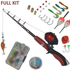 DUDE PERFECT Fishing Rod and Spincast Reel Combo Micro Series Telescopic Tangle Free Compact Fishing Rod Travel Kit w//Trick Shot Bait and Spinner Bait Ultralight