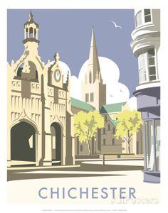 Vintage Travel Giclee Print: Chichester - Dave Thompson Contemporary Travel Print by Dave Thompson : -