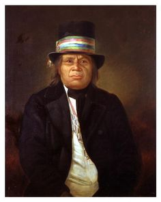 """Chief Oshkosh """"Claw"""" - Ojibwe oshkanzh, """"the claw"""" - B. 1795 Nekoosa, WI - D. 08/29/1858, Keshena, WI - Chief of the Menominee tribe from 1827 until his death. In 1926, his remains were moved to Menominee Park in Oshkosh, WI and lie at  the foot of a monument dedicated to him, covered with an inscribed granite slab. He played a key role in treaty negotiations between the Menominee tribe and the United States government."""