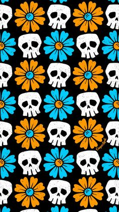 Pushing Daisies Skulls Blue Orange Daisies Pattern For You Feel Free To Save As Your Phone Lock Screen For Personal Use Only Enjoy Skulls Skullart Patterns Halloween Cuteandspooky Skull Wallpaper, Unique Wallpaper, Iphone Background Wallpaper, Pretty Wallpapers, Pattern Wallpaper, Interesting Wallpapers, Perfect Wallpaper, Wallpaper Ideas, Screen Wallpaper