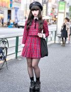 Harajuku Girl in Plaid Honey Cinnamon Dress & Platform Shoes